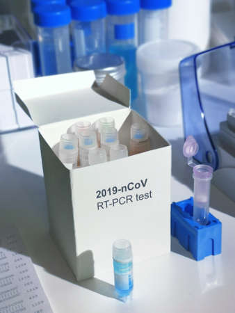 Novel coronavirus 2019 nCoV pcr diagnostics kit. This is RT-PCR kit to detect presence of 2019-nCoV or covid19 virus in patient samples. In vitro diagnostic test based on real-time PCR technology 写真素材