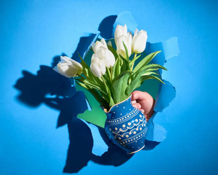 Happy Spring Holidays! Bunch of white tulips in classic blue color ceramic jug in hand shown through torn paper hole with long shadows. Trendy Spring Birthday, Easter, Mother's day holiday background.