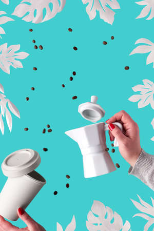 Zero waste coffee background with exotic paper leaves, monstera and fig on blue mint background. Hands hold ceramic espresso coffee maker and eco friendly reusable bamboo zero waste coffee mug. Banque d'images