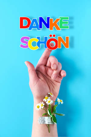 """Text """"Danke shon"""" in German language means """"Thank you"""". Rainbow ribbon in woman's hand. Chamomile flower and grass bouquet attached with medical aid patch. Creative flat lay on blue mint background."""