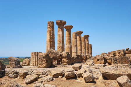 Ruin of ancient greek temple of Heracles, Agrigento, Sicily Italy