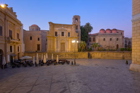 beautiful blue hour dawn view of the Church of St. Mary of the Admiral and Church of San Cataldo, Sicily, Italy