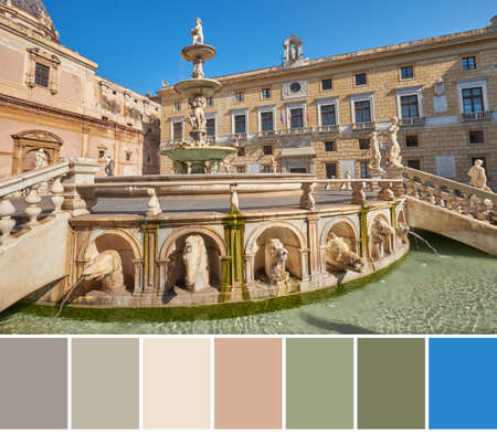 Color matching palette from image of mythological creek Statues on Praetorian Fountain at Main Pretoria place in Palermo with the town hall of Palermo in the background, Sicily