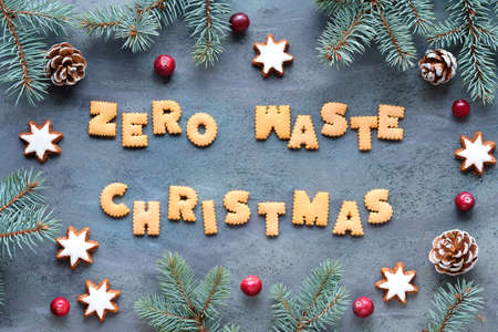 Text Zero Waste Christmas made from cookies. Xmas top view. Firr twigs, candy canes, pine cones, star cookies and fresh cranberry, Natural Christmas decorations on grey textured aged sbackground.
