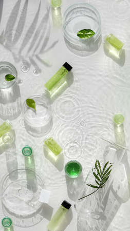 Cosmetic skincare background. Herbal medicine with green leaves. Natural sunlight, long shadows. Splashes of water, splashes. Chemical glassware, petri dishes, vials. Natural skincare background. Archivio Fotografico