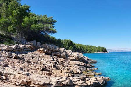 WIld pine forest along Hvar island, coastline of Adriatic Sea. Maslinica Beach, Public bathing place not far from Vrboska village. Hvar island, Dalmatia, Croatia.