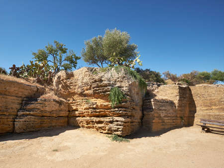 Ruins of ancient protective wall of Akragas town.Valley of Temples, Agrigento, Sicily island in South Italy. . 版權商用圖片