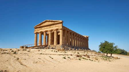 Temple of Concordia, or Tempio della Concordia in Italian. Valley of Temples, Agrigento, Sicily, Italy.