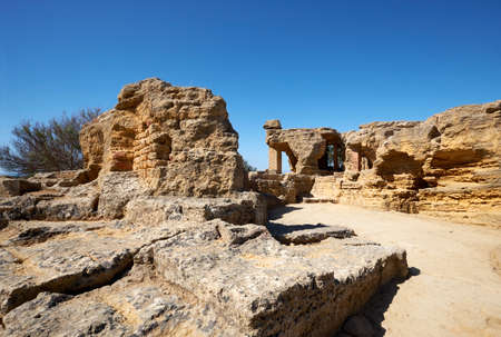 Ruins of ancient protective wall of Akragas town.Valley of Temples, Agrigento, Sicily, Italy.