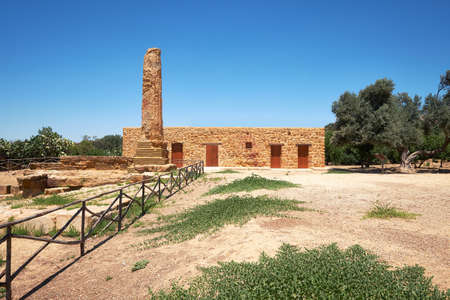 Kolymbethra Gardens, or Jardino della Kolymbethra. magnificent green garden in the heart of the Valley of Temples, Sicily, Italy. Farm house with chimney, panoramic image.