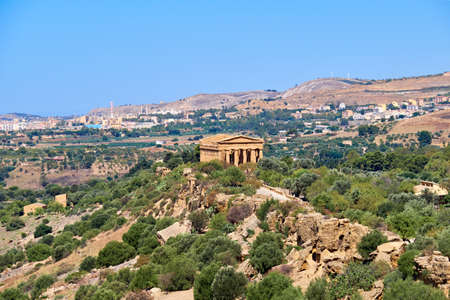 Aerial bird view, Valley of Temples, Agrigento, Sicily, Italy. The Temple of Concordia in the middle.