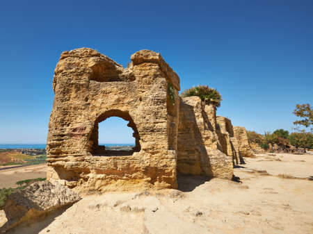 Ancient protective wall of Akragas town.Valley of Temples, Agrigento, Sicily island in Italy.
