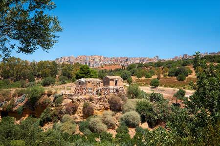 Farm houses in Kolymbethra Gardens, or Jardino della Kolymbethra. magnificent green garden in the heart of the Valley of Temples, Agrigento, Sicily, Italy.