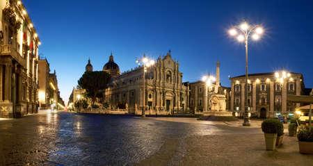 Illuminated Piazza Duomo, Catania, Sicily, Italy in the evening. Cathedral of Santa Agatha and Liotru, symbol of Catania in the evening