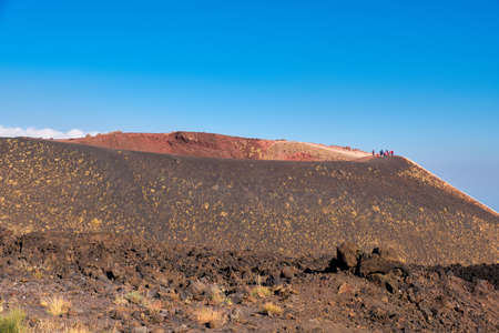 Mount Etna in Sicily near Catania, Tallest active European volcano in Italy. Panoramic wide view of the active volcano Etna, traces of volcanic activity.