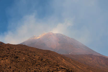 Mount Etna in Sicily near Catania, Tallest active Europe volcano in Italy. Traces of volcanic activity.