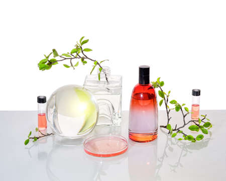 Natural Green laboratory. Abstract floral design. Orange liquid product, fragrance, perfume in glass bottle. Reflections of leaves distorted in water. Spring green twigs. Jars, glass sphere and tubes.