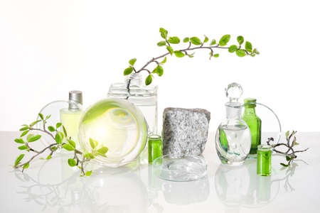 Natural Green laboratory. Abstract floral arrangement. Grey granite podium with product in transparent glass vial. Reflections of leaves distorted in water. Springtime green twigs in jars, tubes. 版權商用圖片 - 167039217