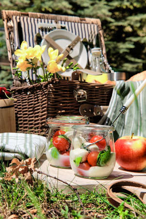 Zero waste picnic al fresco. Vintage picnic basket, hamper with baguette and lemonade outdoors on a grass with cheese, mozzarella, tomatoes, cherries, vine and flowers.