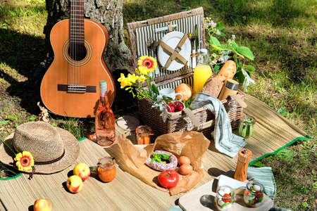Vintage picnic basket, hamper with baguette and lemonade outdoors on a grass with cheese, mozzarella, tomatoes, cherries, vine. Guitar, snacks on straw mat. Eco friendly picnic outdoors. 版權商用圖片