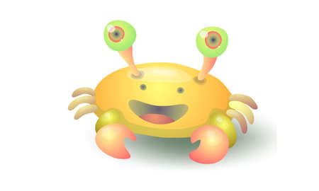 happy yellow crab Illustration