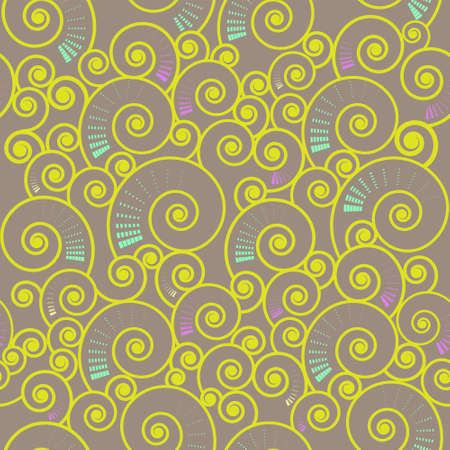 illustration of  seamless spiral  swirl pattern on light-brown backdrop