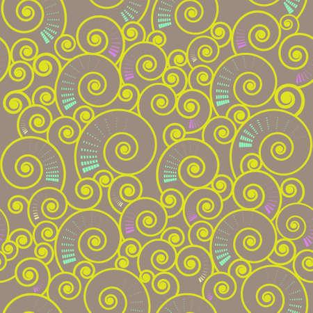 illustration of  seamless spiral  swirl pattern on light-brown backdrop Stock Vector - 12040831
