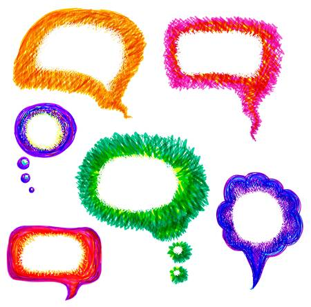 illustration of colorful hand drawn felt pen speech bubble