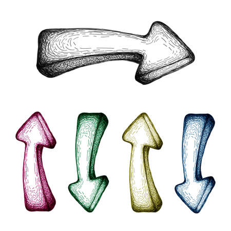 illustration of  hand-drawn arrow set