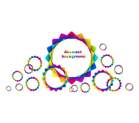 illustration of abstract geometric rainbow circles background