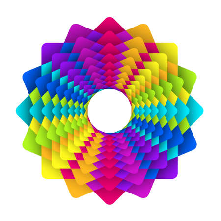 chromatic color: illustration of abstract geometric square rainbow flower logo Illustration
