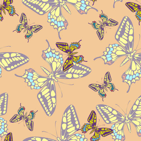 illustration of seamless pastel butterfly pattern wallpaper Illustration