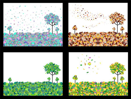 illustration of 4 seasons geometric  background set Vector