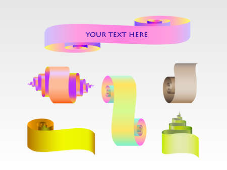 abstract scroll paper ribbon set for your design Illustration