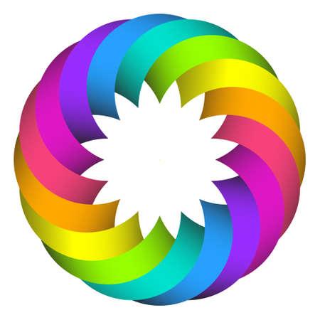 chromatique: illustration de cercle arc-en-conception de logo fleur