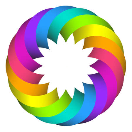 chromatic color: illustration of  rainbow circle flower logo design
