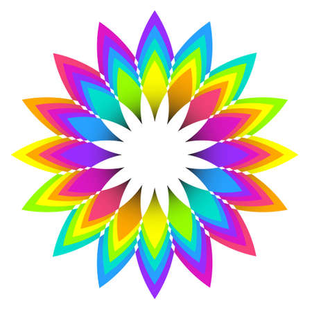 rainbow color star: illustration of abstract geometric rainbow flower logo design