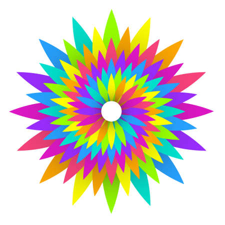 fractal pink: illustration of abstract geometric rainbow flower logo design