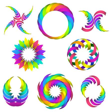circulos concentricos: la ilustraci�n del logotipo de arco iris y de iconos para el dise�o de su