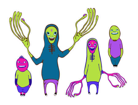 surrealistic: monster characters set illustration.