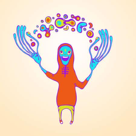 surrealistic: juggling doodle monster illustration