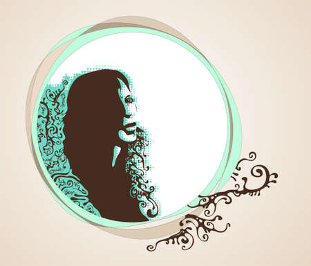 feminize: womans face silhouette with place for text illustration Illustration