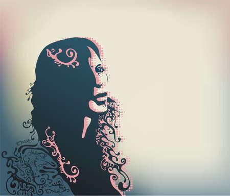 feminize: womans face silhouette illustration Illustration