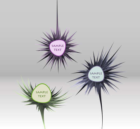 abstract flower speech bubble set