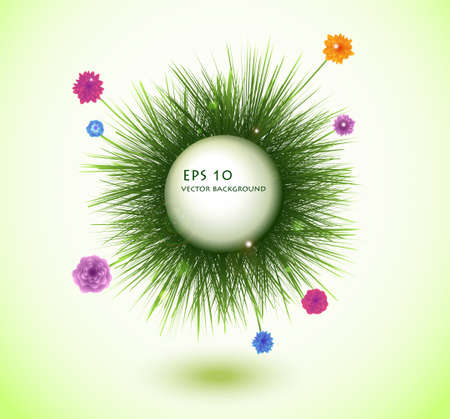 round frame with fresh spring grass Vector
