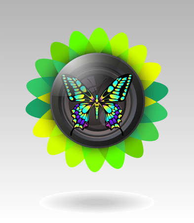 lens with butterfly illustration