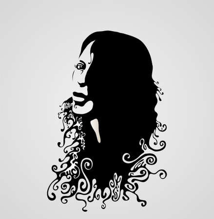 flowing hair: woman retro  face silhouette illustration Illustration
