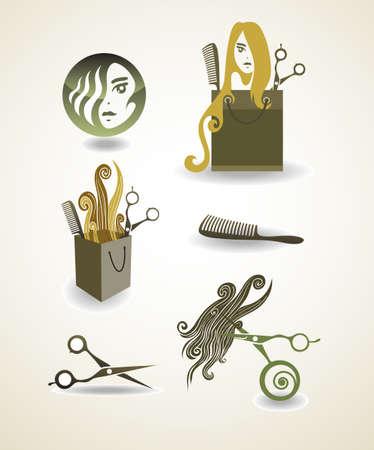peigne et ciseaux: Ensemble d'�l�ments - salon de coiffure