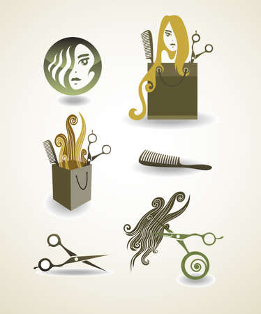 beauty salon face: Set of elements - hairdresser