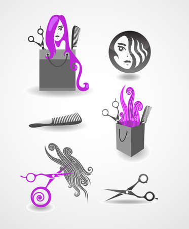 Set of elements - hairdresser Vector
